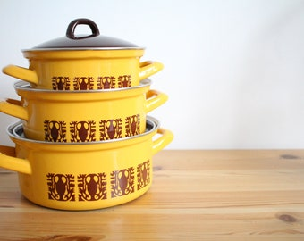 Vintage set of three yellow brown Yugoslavia enamel pans 60s 70s pan set