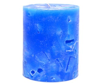 Cosmic Candles Blue Chunk Round Pillar Unscented 3x4