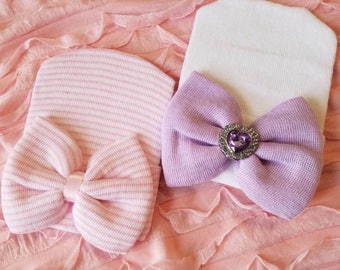 Baby Bundle, hospital hat baby girl, newborn hospital hat, girl newborn hospital hat purple hat with bow