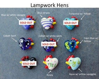 5 cheery chicken beads - lampwork glass hens - you choose the colors - jewelry and craft supplies