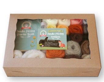 Complete Needle Felting Starter Kit| Natural & Animal Colors | Free Bonus + Felting Needles, Foam, Wool Roving | Gift Set for Crafters