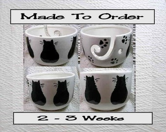 Made To Order Black Cats On Yarn Bowl Earthenware Clay by Grace M Smith