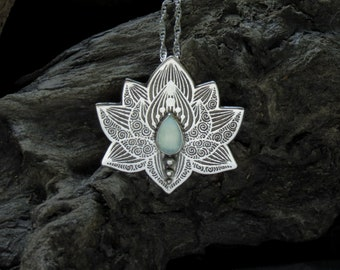 Lotus Pendant - Water Lily Necklace - Silver Flower Necklace - Aqua Chalcedony Necklace - Heart Chakra Necklace