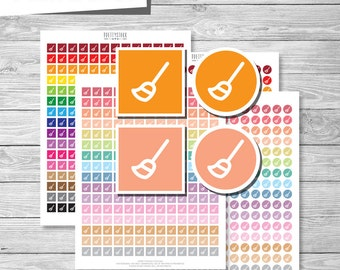 Broom Stickers, Printable Planner Stickers, Broom Planner Stickers, Printable Cleaning Stickers, Sweep Stickers, Chore Stickers - PS174