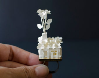 My Lovely House, Paper House Ring, adjustable ring - Made to Order