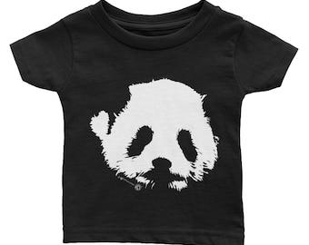 Cute Panda Bear Infant Tee Rabbit Skins brand for Baby White Panda Face on Black TShirt Striking Minimalist Design Black and White Adorable