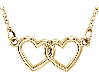 Intertwined Love Heart Necklace (14K Rose Gold, 14K White Gold, or 14K Yellow Gold)