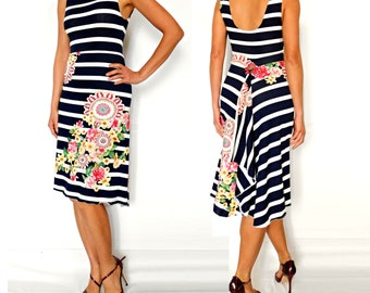 Floral Navy Stripes Dress