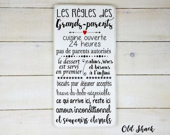 Les règles des grands-parents,  wood sign, hand painted, grandparents gift, grandparents rules, sign in french, n#1-7-003