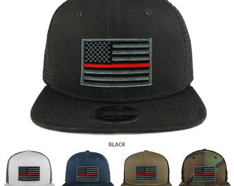 Thin Red American Flag Patch Snapback Trucker Cap (NE403-THINRED)