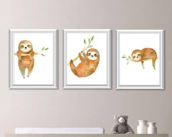 Watercolor Sloth Nursery Art. Sloth Nursery Decor. Nursery Print Art. Woodland Nursery Decor. Woodland Art. Sloth Decor. Sloth Art. NS-877