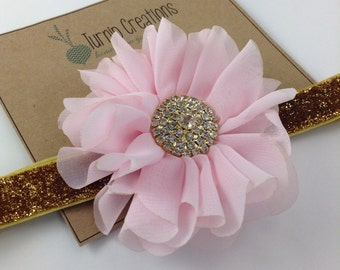 Pink & Gold Headband Ballerina Flower Headband Glitter Wedding Flower Girl Headband Pretty in Pink M2M Persnickety