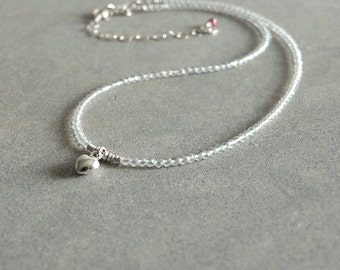 Heart Topaz Necklace, small bead necklace, sterling silver heart pendant, genuine ruby, white topaz, beaded necklace, heart charm jewelry