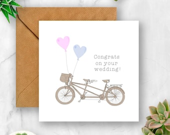 Tandem Congrats on Your Wedding Card, Card for Wedding, Marriage Card, Unique Wedding Card, Gay Wedding Card, Lesbian Wedding Card, Love