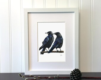 Crow, Raven, 7 x 5 inches, Print of an original drawing