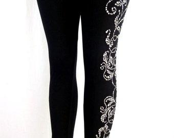 Regular Size Full Length Leggings Embellished Rhinestone Silver Pearl Design