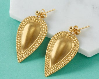 Gold teardrop earrings | Gold drop earrings | Tribal earrings | Brass pendant earrings | Gold dangle earrings