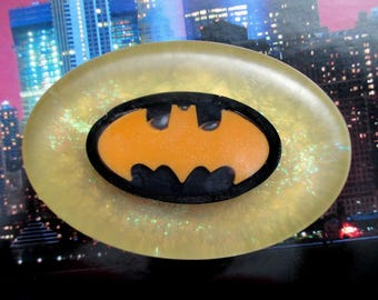 Batman Soap w. scent of Denim. Guy Gift. Party Favors