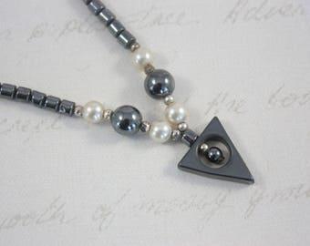 80s Hematite Necklace, Hematite Bead Necklace, Geometric Necklace, Art Deco Style Necklace, Black and White Necklace