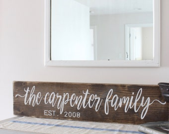 Family Name Sign, Stained Wood Sign, Established Date Sign, Personalized Gift, Rustic Wall Decor, Custom Sign, Wood Wall Decor