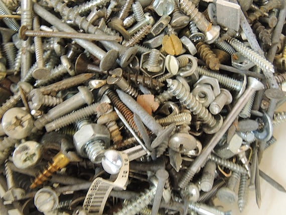 Vintage 3+ lb Lot Mixed Hardware screws, nuts, bolts & More For Assemblage Art And Craft (#10)