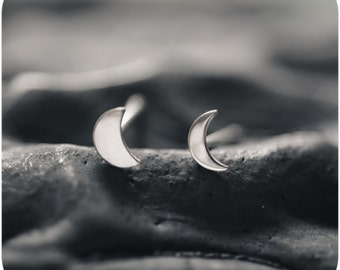 Luna - Moon Crescent Sterling Silver Stud Earrings - Mix and match
