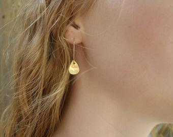 Gold Leaf Earrings, Drop Earrings, Gold Filled Earrings, Kidney Hook Earrings, Brushed Earrings