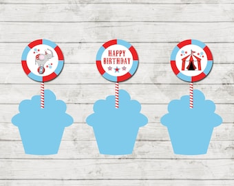 Cupcake Toppers - Circus Carnival Theme Birthday Party - Red and Blue - Party Circles - INSTANT DOWNLOAD - Printable
