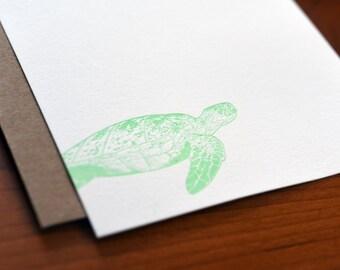 Sea Turtle Letterpress Notecard Set