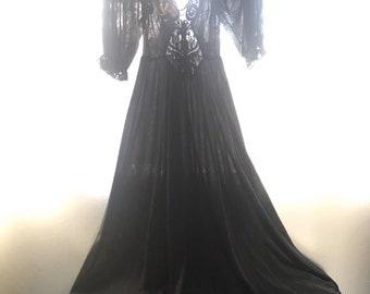 1970's Vintage Olga Black Nylon Princess Nightgown~Huge Sweep~Peek a Boo Lace