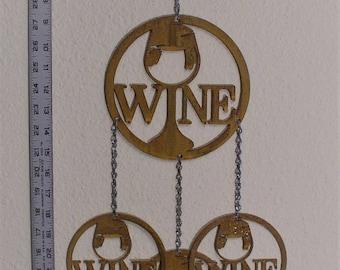 Wine glass wind chime