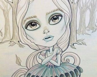 Haunted Girl Horror Fantasy Lowbrow Art Print by Leslie Mehl 8.5 X 11