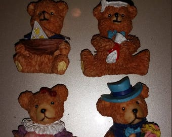 Teddy Bear Magnets Set of 4, Valentines Day, Graduation Day, Sailboat Nautical Bear, Dressed up Bear Viintage,