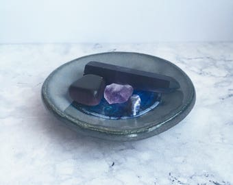 Handmade Ceramic and Recycled Glass Dish - Trinket Bowl - Ring and Jewellery Dish - Wabi Sabi Pottery - Blue Green Ceramic Gifts.