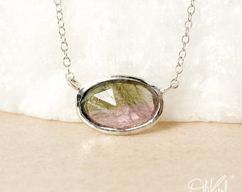 Oval Watermelon Tourmaline Necklace - Connector, Horizontal Necklace - Choose Your Setting