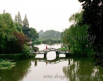Asian Art, Lake Landscape Photography, Chinese Photography, Green Bridge Art Print, Asian Decor Fine Art Photography, Water Wall Art