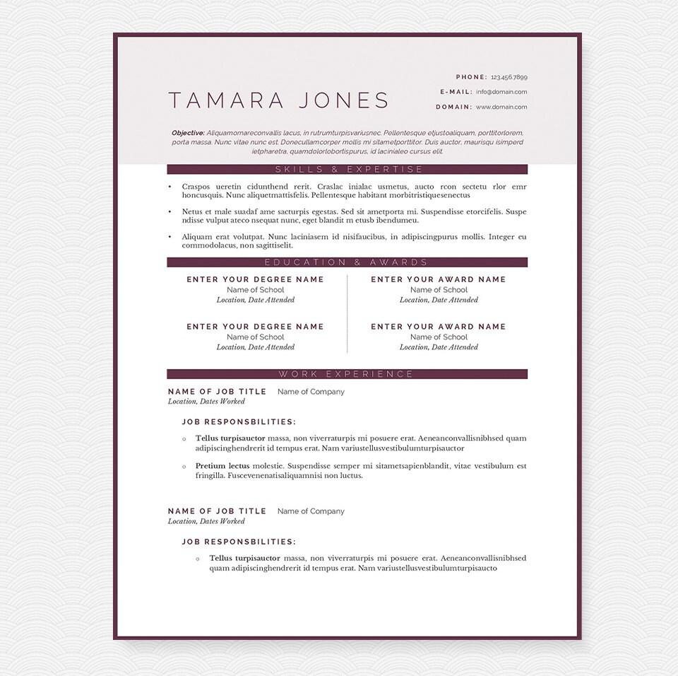 Limpiar ciruelo CV carta y paquete de la plantilla de