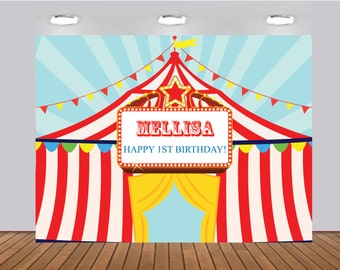 Printable Carousel Carnival Banner Circus Birthday Party Backdrop any age Digital File | BDROP_02