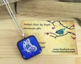 Fused glass butterfly necklace-dichroic butterfly pendant-butterfly jewellery