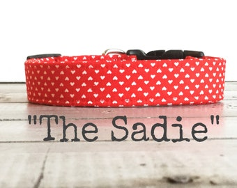 DOG COLLAR, Dog Collars, The Sadie, Dog Collars, Dog Collars for Girls, Red, Hearts, Red and White