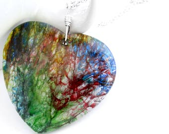 Rainbow Heart Pendant, Wire Wrapped Stone Necklace, Colorful Agate Jewelry