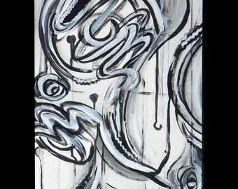 """Abstract black and white graffiti style painting #1 - 16x20"""" poster print"""
