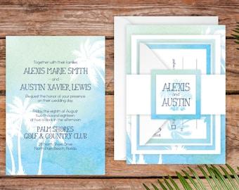 SAMPLE Wedding Invitation Suite - Painted Palms Wedding Invite SAMPLE - Personalized Wedding Invitations - Full Wedding Suites