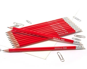 High Quality Personalised Pencils -Printed with Name - CRIMSON RED (plus other colours)