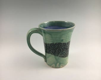 Green and Blue Stoneware Mug, Pottery Coffee Mug, Christmas Present, Tea Cup, Sgraffito Mug, Sgraffito Cup