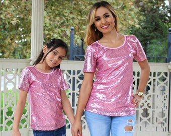 1 CHILD ONLY, Pink, sequin, sequin fabric, mommy and me, matching outfits, matching shirts,mommy and me outfits, mommy and baby, sequin top