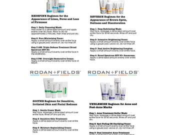 """4"""" x 6"""" Rodan + Fields Regimen Instructions"""
