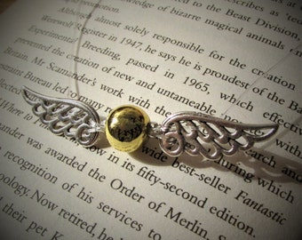 Flying Golden Snitch Harry Potter Seeker Quidditch Inspired Floating Illusion Necklace