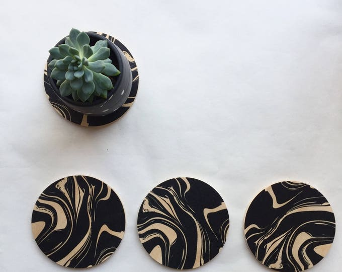MARBLE set of 4 wood coasters
