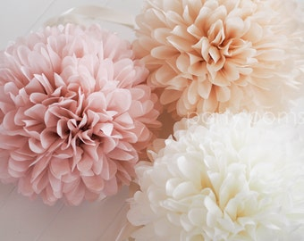 7 Tissue Poms .. Wedding Reception Decorations .. Custom Colors